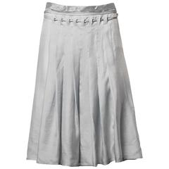 Prada Gray + Silver Silk Asymmetric Avant Garde Pleated Skirt