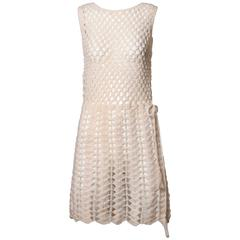 Unworn 1960s Vintage Hand Crochet Wool Dress with Original Tags Attached