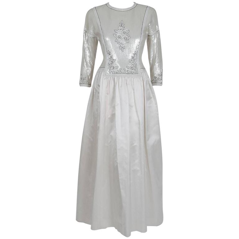 1985 Chanel Haute-Couture Lesage Beaded Sequin Ivory Silk Full-Skirt Formal Gown