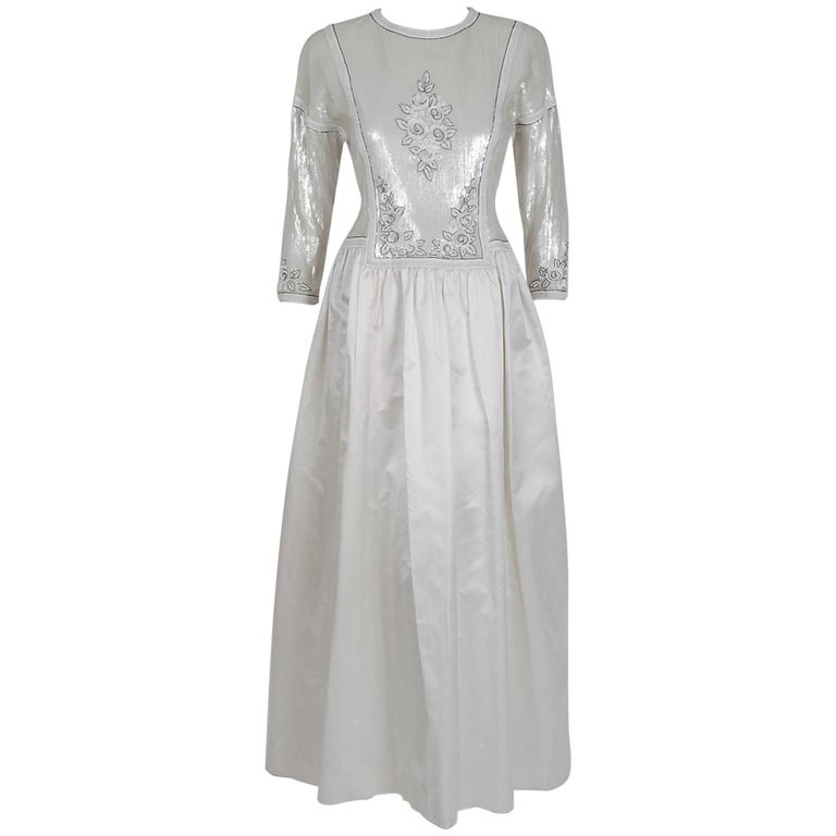 1985 Karl Lagerfeld for Chanel Haute-Couture Lesage Beaded Ivory Silk Gown For Sale