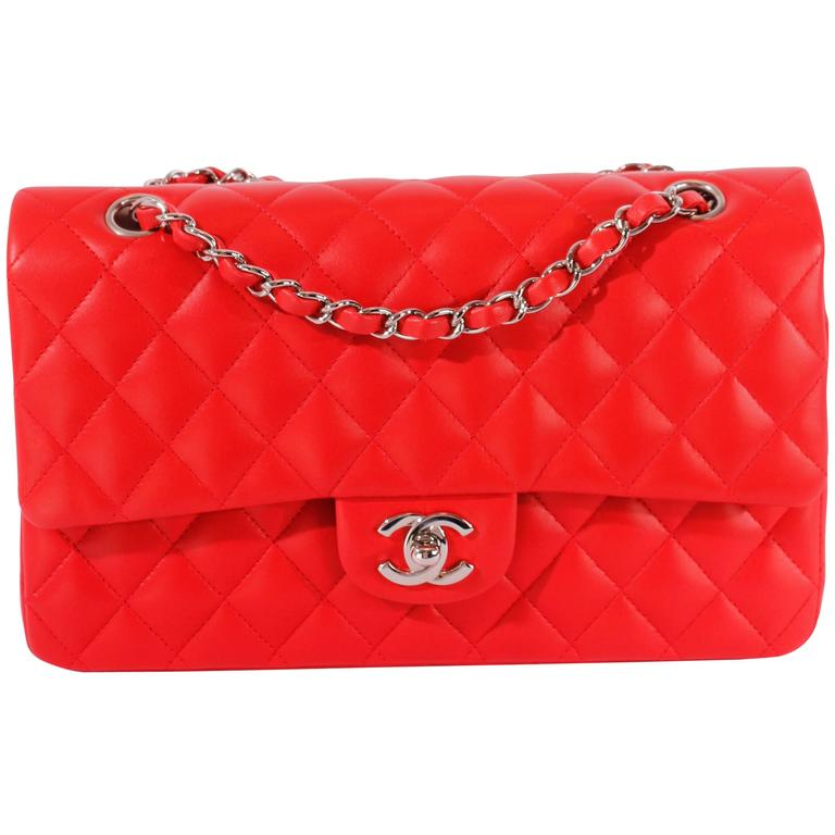 2005 Chanel 2.55 Medium Classic Double Flap Bag - red/silver 1