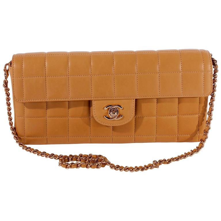 2003 Chanel E/W East West Baguette Flap Clutch Bag - camel/gold For Sale