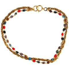 Vintage Chanel Double Strand Gold Tone Chain Necklace with Gripoix Beads