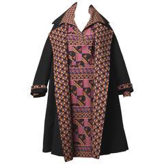 Museum Quality Gucci Vintage 1970s Reversible Wool Coat + Dress Ensemble