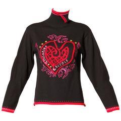 Christian LaCroix Vintage 1990s Heart Design Turtleneck Knit Sweater or Jumper