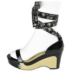2000's Chanel Black And Beige Patent Leather Platform Sandals With Ribbons FR 41