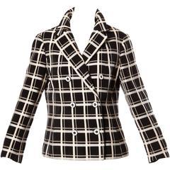 1960s Bill Blass for Maurice Rentner Vintage Wool Windowpane Plaid Blazer Jacket