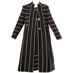 1960s Vintage Black + White Striped Wool Knit Coat + Dress Ensemble