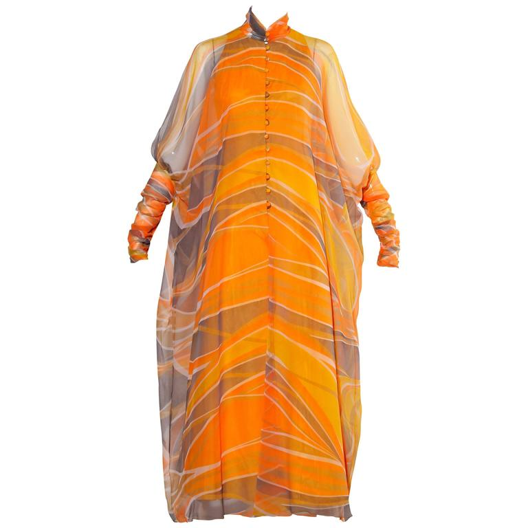 Erna Beverly Hills Vintage Orange Op Art Print Caftan Maxi Dress, 1970s