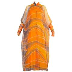 Erna Beverly Hills Vintage Orange Op Art Print Caftan Maxi Dress, 1970s