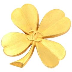 Vintage Chanel Gold Tone Clover Motif Large Pin Brooch