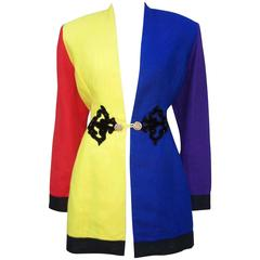 1980's Max Nugus Color Block Linen Jacket With Glam Details
