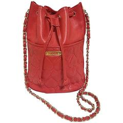 Vintage MOSCHINO red heart shape quilted lambskin shoulder hobo bucket purse