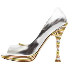 Brian Atwood Metallic Three Tone Peep Toe Pump