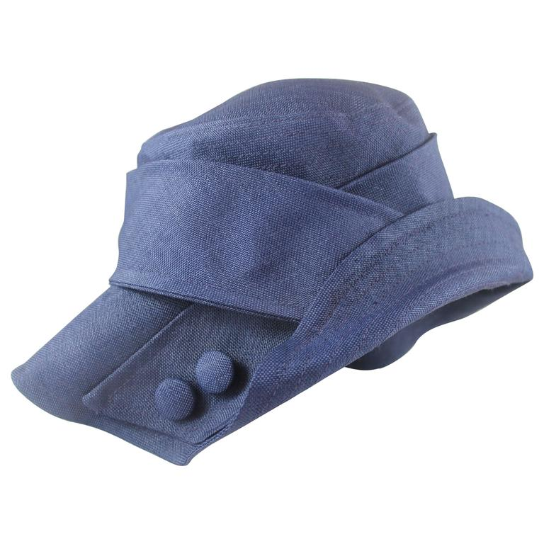 Suzanne Custom Millinery Navy Thin Raffia Hat with Buttons