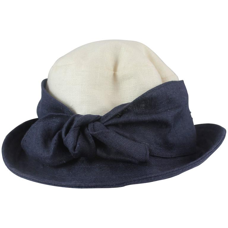 44a2609aa11a Deborah Rhodes Collection Ivory and Navy Canvas Hat with Front Tie ...