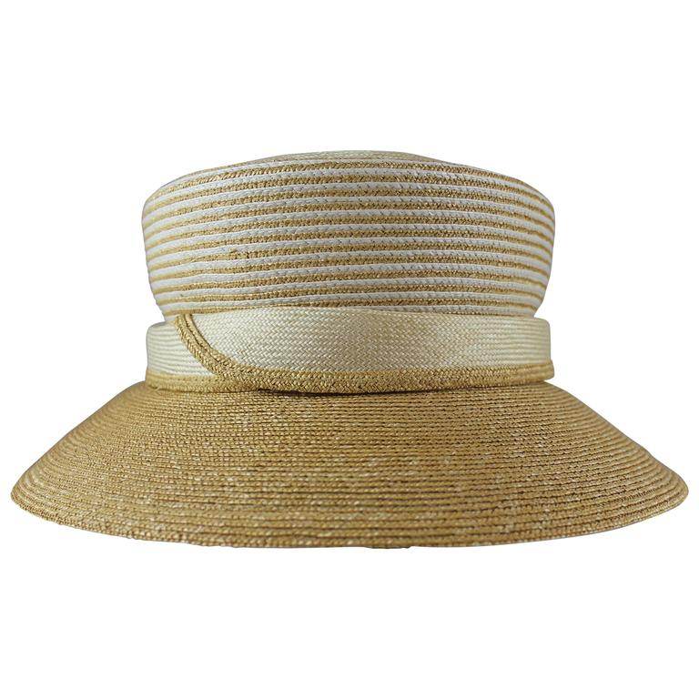 Suzanne Custom Millinery Tan Straw Hat with Thin Ivory Stripes