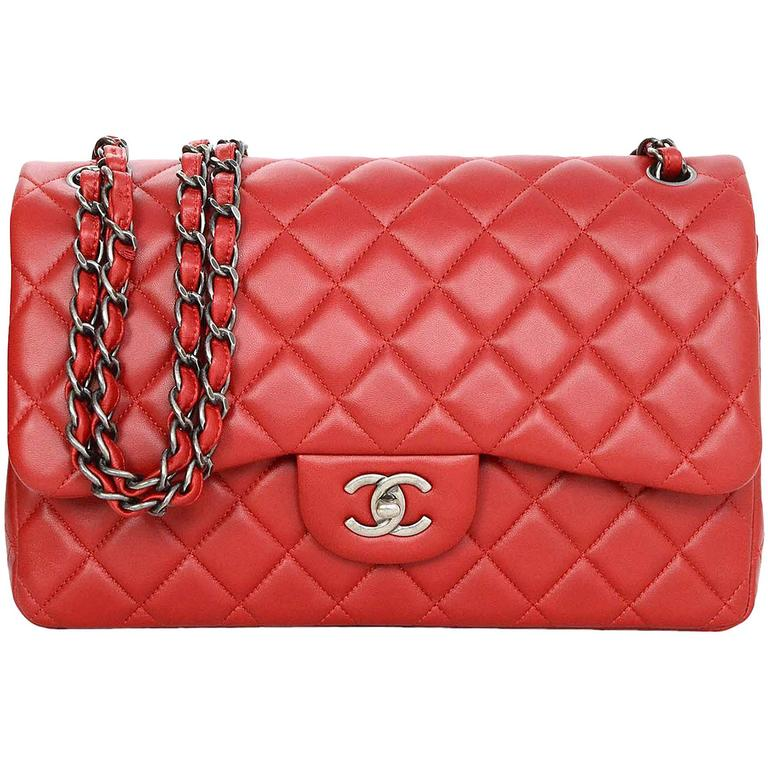 3fc383595567 Chanel Red Quilted Lambskin Leather Double Flap Jumbo Bag with RHW For Sale