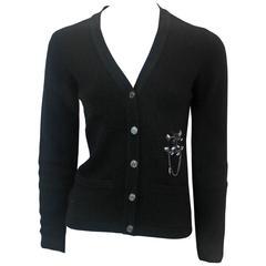 """Chanel Black Cashmere Knit Cardigan with Rhinestone """"CC"""" - 34 - 06A"""