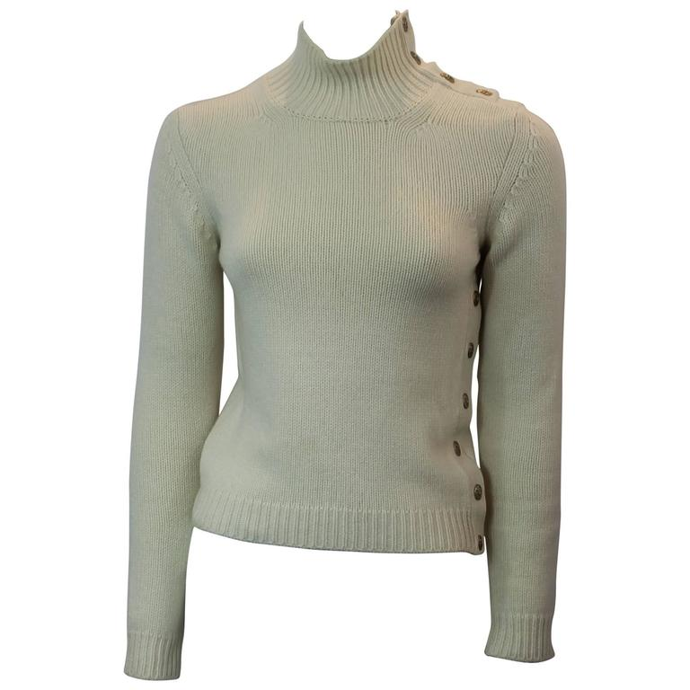 Chanel Ivory Cashmere Knitted Turtleneck with Gold Button Details - 36 - 04A