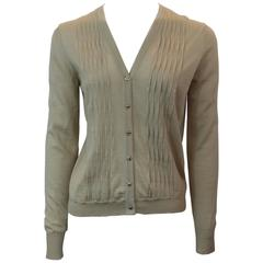 Chanel Beige Cashmere Blend Pleated Cardigan with Gold Camellia Buttons- 40- 06A