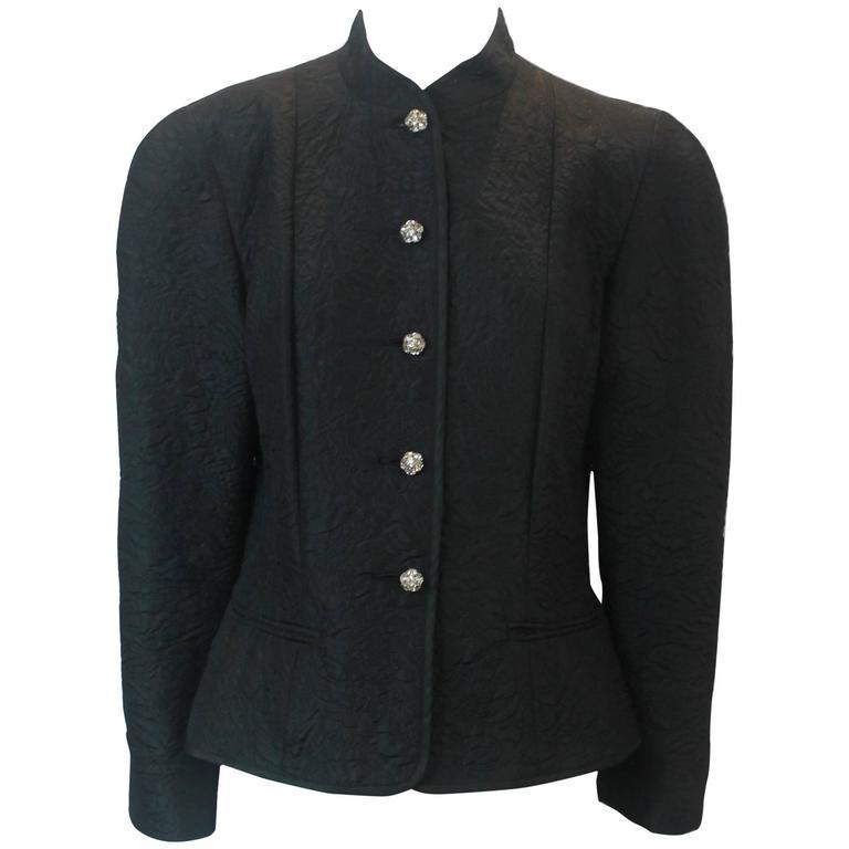 Guy Laroche Vintage Black Silk Blend Evening Jacket - 40 - circa 1980s