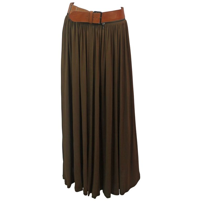 jean paul gaultier brown jersey maxi wrap skirt with
