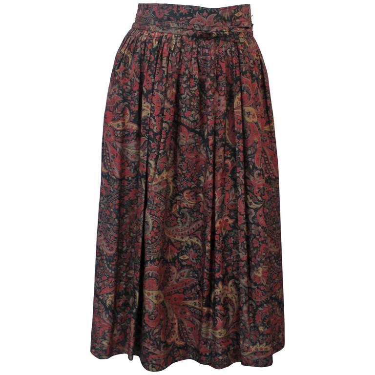 Bogner Vintage Multi-Colored Floral Print Silk Wrap Skirt - 38 - 1990's