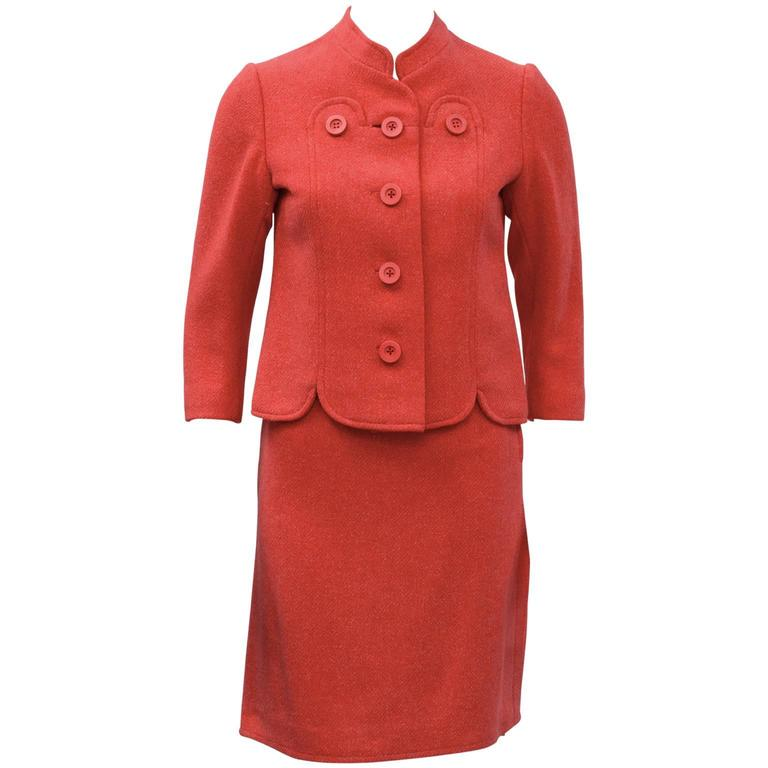 1960's Molyneux Coral Wool Skirt Suit