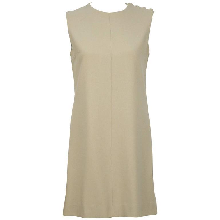 1960's Sorelle Fontana Taupe Sleeveless Shift Dress