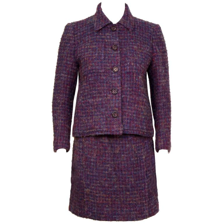 1960's Guy Laroche Purple and Blue Woven Wool Suit For Sale