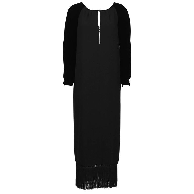1980's Valentino Black Velvet and Crepe Gown  For Sale