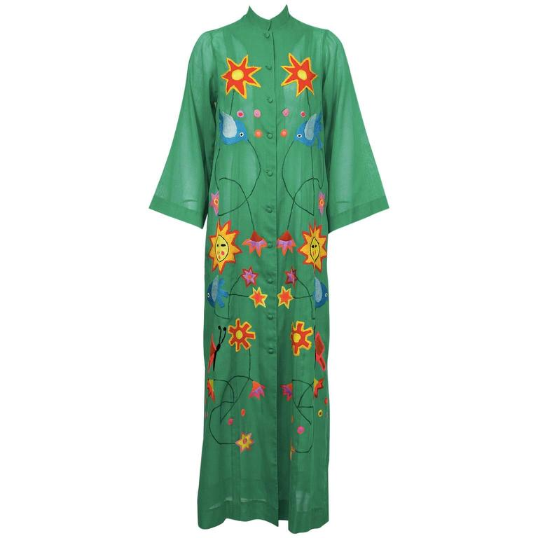 1960 S Green Mexican Cotton Dress With Embroidery For