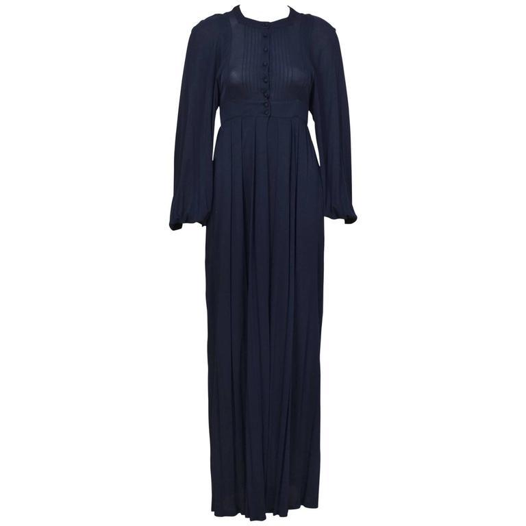 1970's Jean Muir Navy Rayon Jersey Maxi Dress