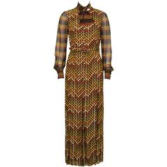 1970's Andre Laug Orange and Yellow Jacquard Gown
