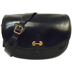 Vintage 1986 Hermes Black Box Leather Balle de Golf Shoulder Bag GHW