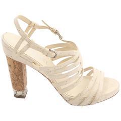 Chanel White Leather Sandals W/ Cork Heel