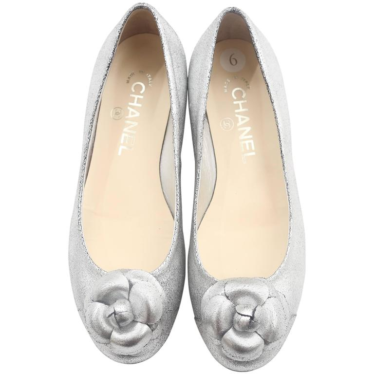 Chanel Silver Flats W/ Rosette  For Sale
