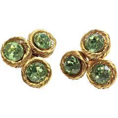 Fabulous VENDOME 1960's Clip Screw Earrings Sparkling Huge Citrine Stones