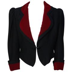 Diane Von Furstenburg Cropped Wool and Velvet Jacket