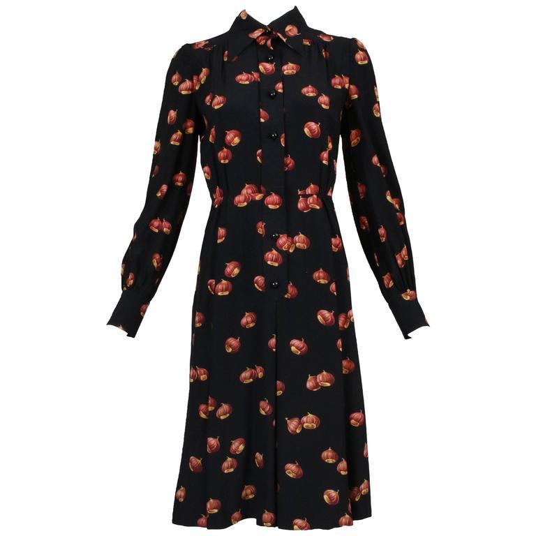 Classic 1970s Valentino Chestnut Print Silk Day Dress