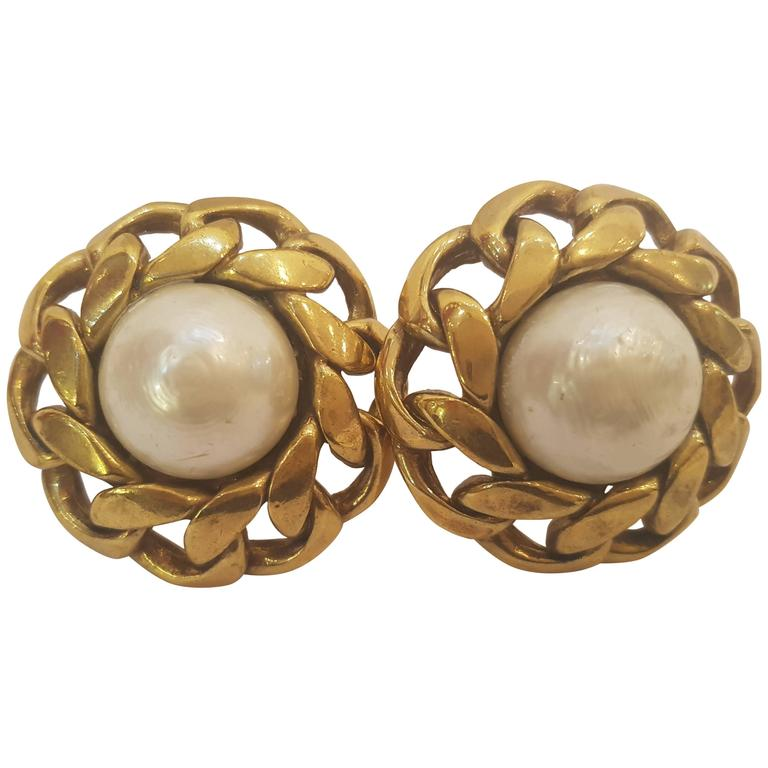 Chanel Gold Tone White Faux Pearls Clip on earrings For Sale