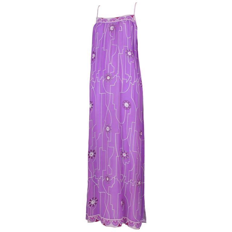 1970's Pucci Silk Chiffon Maxi Dress w/Geometric Print