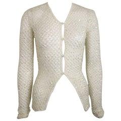 Dice Kayek White Sequin Mesh Net Cardigan