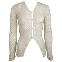 Dice Kayek White Sequin Mesh Net Cardigan