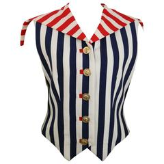 Versus By Gianni Versace Colour Blocked Stripes Cropped Vest