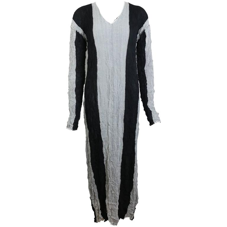 Issey Miyake Black/Grey Striped Pleated Long Dress