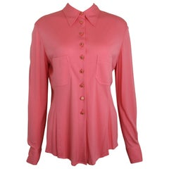 90s Chanel Pink Silk Shirt