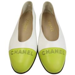 Chanel Bi Tones White/Green Leather Flats