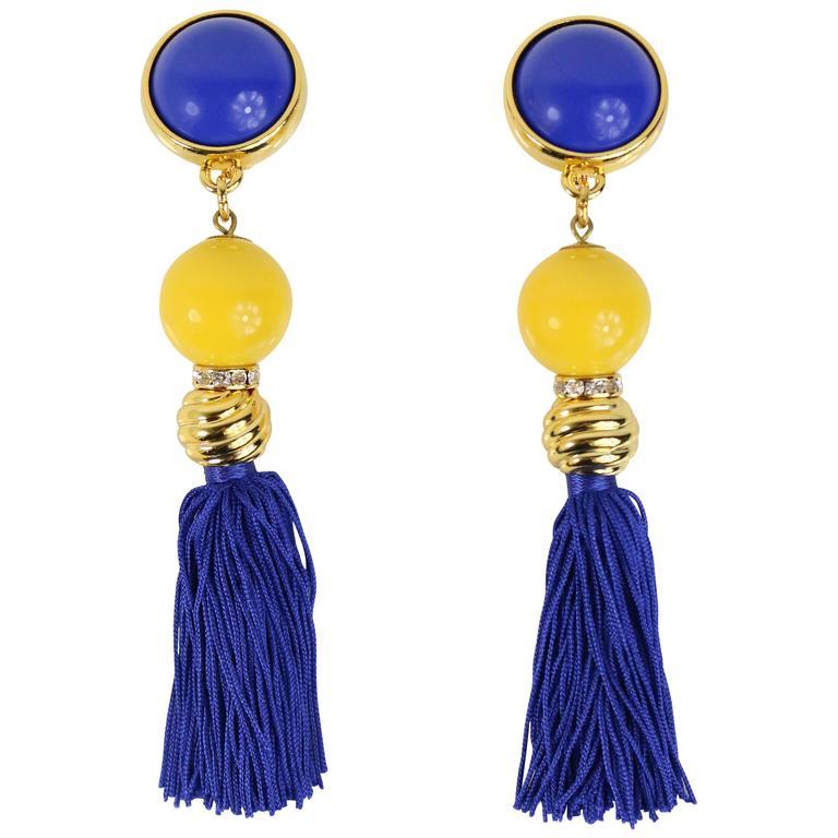 Escada Gold Tone Yellow/Midnight Blue Tassel Drop Clip On Earrings  For Sale